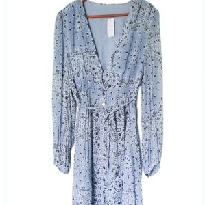 Chan Luu Dusty Blue Long Sleeve Dress size Large